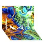 Abstract Fractal Batik Art Green Blue Brown I Love You 3D Greeting Card (7x5)