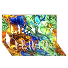 Abstract Fractal Batik Art Green Blue Brown Best Friends 3d Greeting Card (8x4) by EDDArt