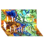Abstract Fractal Batik Art Green Blue Brown Best Friends 3D Greeting Card (8x4)