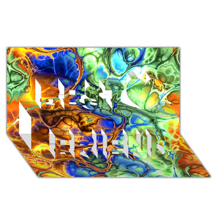 Abstract Fractal Batik Art Green Blue Brown Best Friends 3D Greeting Card (8x4)