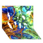 Abstract Fractal Batik Art Green Blue Brown LOVE 3D Greeting Card (7x5)