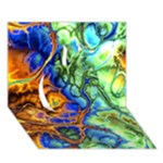 Abstract Fractal Batik Art Green Blue Brown Apple 3D Greeting Card (7x5)