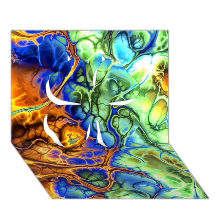 Abstract Fractal Batik Art Green Blue Brown Clover 3D Greeting Card (7x5)