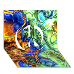 Abstract Fractal Batik Art Green Blue Brown Peace Sign 3d Greeting Card (7x5) by EDDArt
