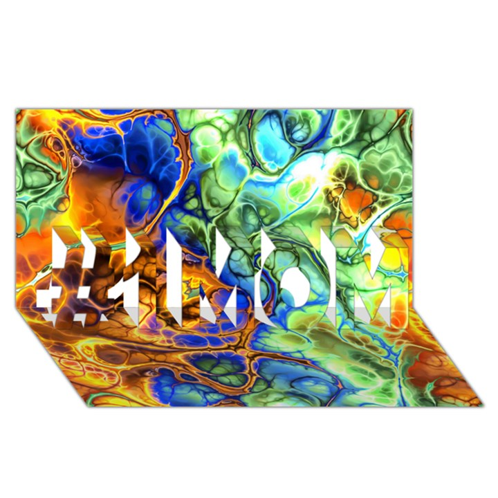 Abstract Fractal Batik Art Green Blue Brown #1 MOM 3D Greeting Cards (8x4)
