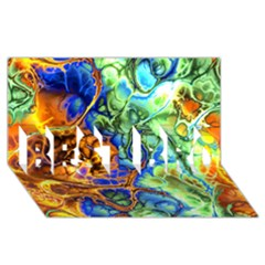 Abstract Fractal Batik Art Green Blue Brown Best Bro 3d Greeting Card (8x4) by EDDArt