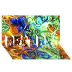 Abstract Fractal Batik Art Green Blue Brown BEST BRO 3D Greeting Card (8x4)