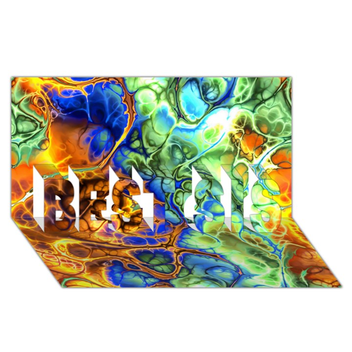 Abstract Fractal Batik Art Green Blue Brown BEST SIS 3D Greeting Card (8x4)