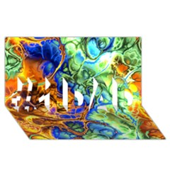 Abstract Fractal Batik Art Green Blue Brown #1 Dad 3d Greeting Card (8x4) by EDDArt