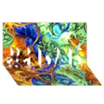Abstract Fractal Batik Art Green Blue Brown #1 DAD 3D Greeting Card (8x4)