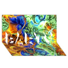 Abstract Fractal Batik Art Green Blue Brown Party 3d Greeting Card (8x4) by EDDArt