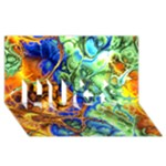 Abstract Fractal Batik Art Green Blue Brown HUGS 3D Greeting Card (8x4)