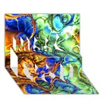 Abstract Fractal Batik Art Green Blue Brown Miss You 3D Greeting Card (7x5)