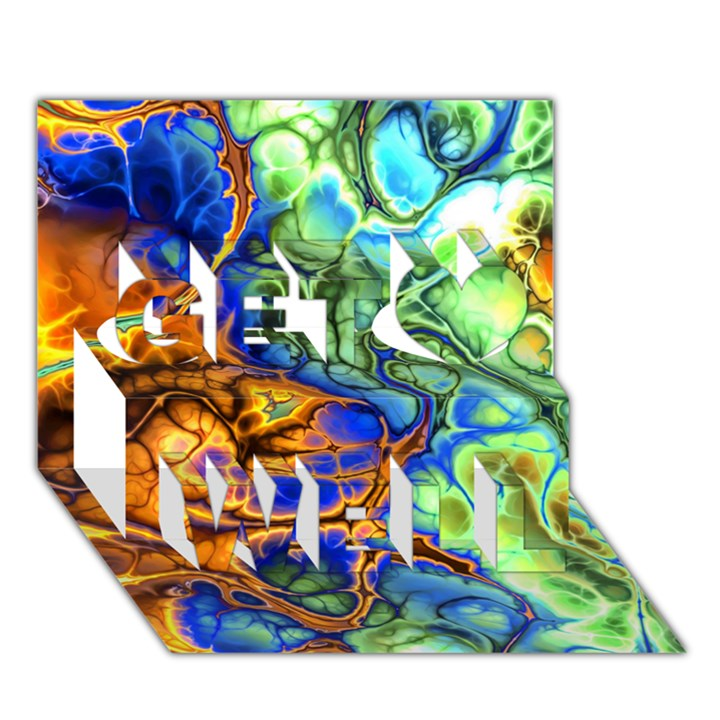Abstract Fractal Batik Art Green Blue Brown Get Well 3D Greeting Card (7x5)