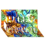 Abstract Fractal Batik Art Green Blue Brown Happy New Year 3D Greeting Card (8x4)