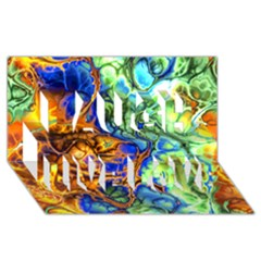 Abstract Fractal Batik Art Green Blue Brown Laugh Live Love 3d Greeting Card (8x4) by EDDArt