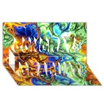 Abstract Fractal Batik Art Green Blue Brown Congrats Graduate 3D Greeting Card (8x4)