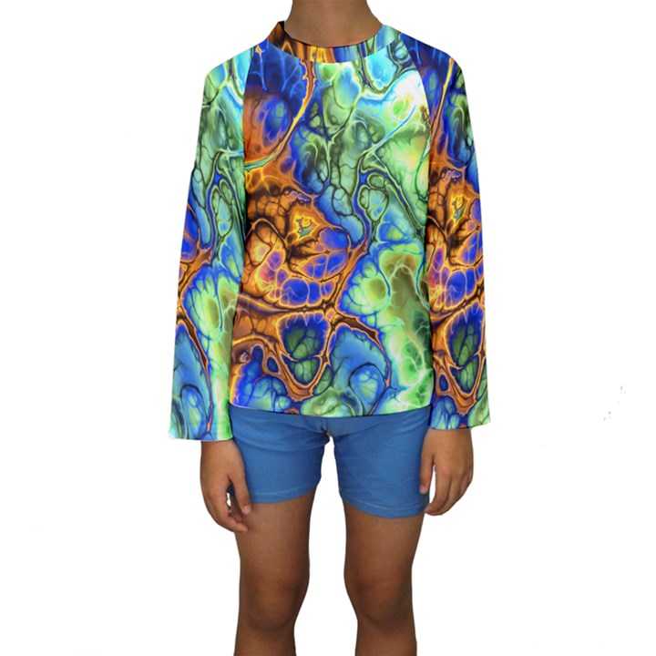 Abstract Fractal Batik Art Green Blue Brown Kids  Long Sleeve Swimwear