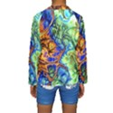 Abstract Fractal Batik Art Green Blue Brown Kids  Long Sleeve Swimwear View2