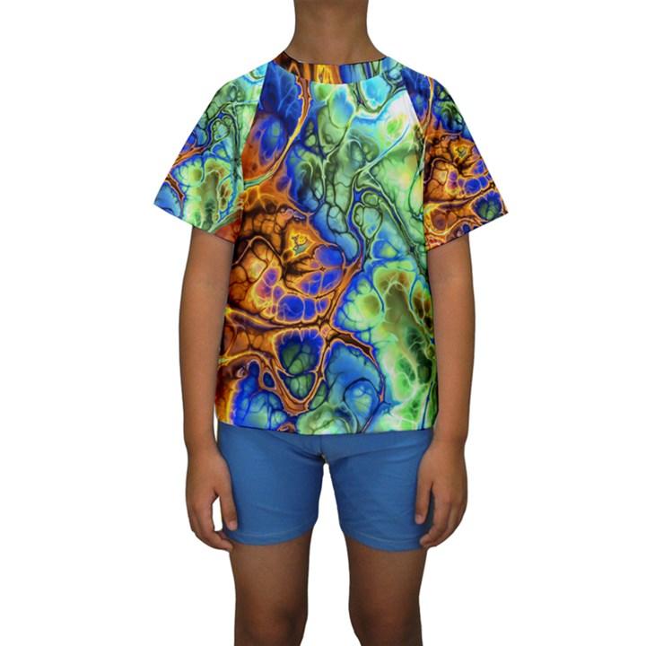 Abstract Fractal Batik Art Green Blue Brown Kids  Short Sleeve Swimwear