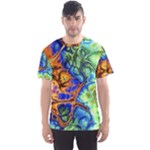 Abstract Fractal Batik Art Green Blue Brown Men s Sport Mesh Tee