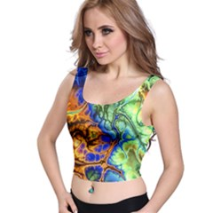 Abstract Fractal Batik Art Green Blue Brown Crop Top