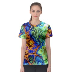 Abstract Fractal Batik Art Green Blue Brown Women s Sport Mesh Tee by EDDArt