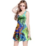 Abstract Fractal Batik Art Green Blue Brown Reversible Sleeveless Dress