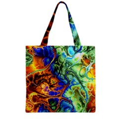 Abstract Fractal Batik Art Green Blue Brown Grocery Tote Bag by EDDArt