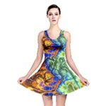 Abstract Fractal Batik Art Green Blue Brown Reversible Skater Dress