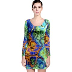 Abstract Fractal Batik Art Green Blue Brown Long Sleeve Bodycon Dress