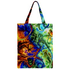 Abstract Fractal Batik Art Green Blue Brown Classic Tote Bag by EDDArt