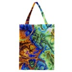 Abstract Fractal Batik Art Green Blue Brown Classic Tote Bag