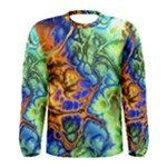 Abstract Fractal Batik Art Green Blue Brown Men s Long Sleeve Tee