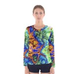 Abstract Fractal Batik Art Green Blue Brown Women s Long Sleeve Tee