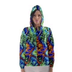 Abstract Fractal Batik Art Green Blue Brown Hooded Wind Breaker (women) by EDDArt