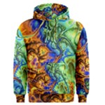 Abstract Fractal Batik Art Green Blue Brown Men s Pullover Hoodie