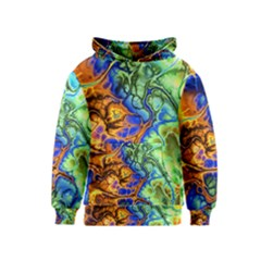 Abstract Fractal Batik Art Green Blue Brown Kids  Pullover Hoodie by EDDArt