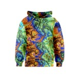 Abstract Fractal Batik Art Green Blue Brown Kids  Pullover Hoodie