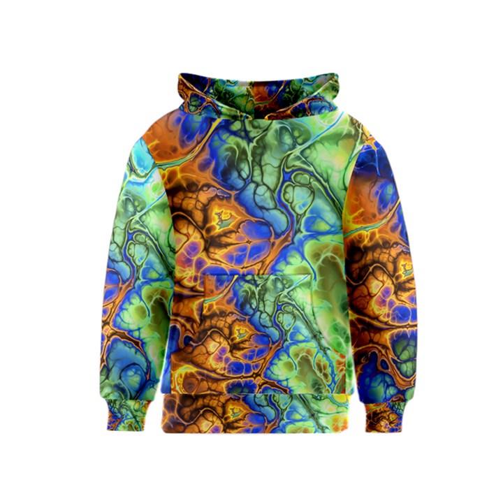 Abstract Fractal Batik Art Green Blue Brown Kids  Pullover Hoodie