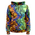 Abstract Fractal Batik Art Green Blue Brown Women s Pullover Hoodie View1