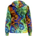 Abstract Fractal Batik Art Green Blue Brown Women s Pullover Hoodie View2