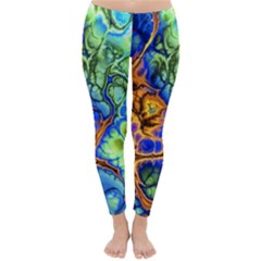 Abstract Fractal Batik Art Green Blue Brown Winter Leggings