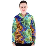 Abstract Fractal Batik Art Green Blue Brown Women s Zipper Hoodie