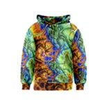 Abstract Fractal Batik Art Green Blue Brown Kids  Zipper Hoodie