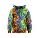 Abstract Fractal Batik Art Green Blue Brown Kids  Zipper Hoodie View1