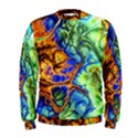 Abstract Fractal Batik Art Green Blue Brown Men s Sweatshirt View1