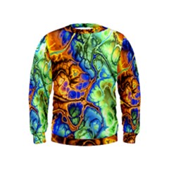 Abstract Fractal Batik Art Green Blue Brown Kids  Sweatshirt by EDDArt