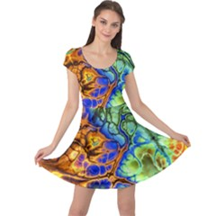Abstract Fractal Batik Art Green Blue Brown Cap Sleeve Dresses