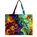 Abstract Fractal Batik Art Green Blue Brown Zipper Mini Tote Bag